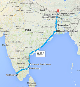 South to North India travel