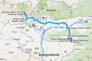 sikkim to meghalaya