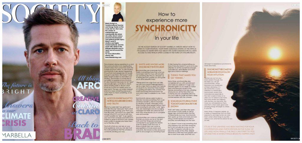Society Marbella Magazine September 2019, Article by Maria Erving, Brad Pitt cover
