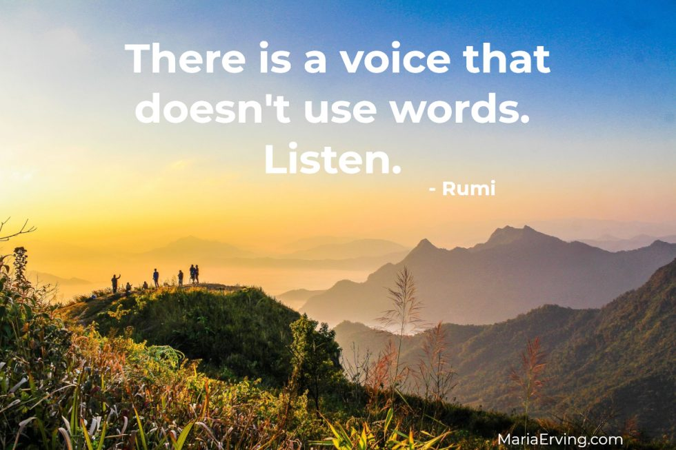 """There is a voice that doesn't use words. Listen."" - Rumi"