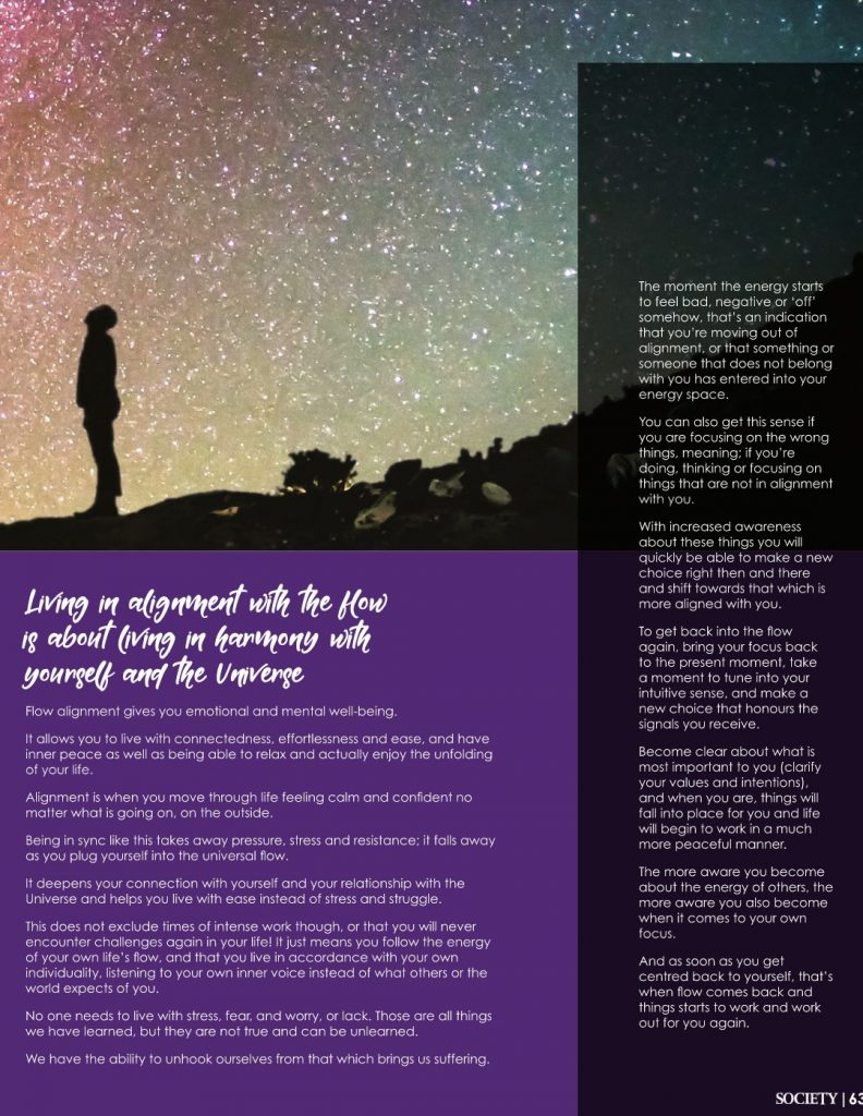 """Society Marbella Magazine, Article by Maria Erving, """"Align yourself with the flow of Life"""", July 2020."""