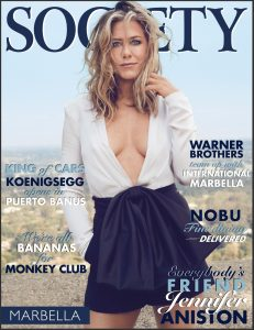Jennifer Aniston on the cover of Society Marbella Magazine, July 2020.